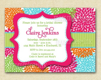 Modern Bridal Shower Invitation, Bright Blooms Bridal Shower Invitation, Floral Shower Invitation, Pink, Turquoise, Lime Green Printable