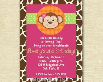 Modern Monkey - Polka Dot - Birthday Party Invitation - Boy or Girl - PRINTABLE INVITATION DESIGN