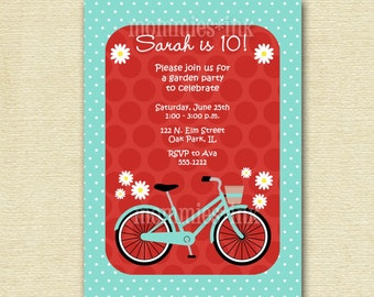 Vintage Bicycle and Daisies Birthday Party Invitation - PRINTABLE INVITATION DESIGN
