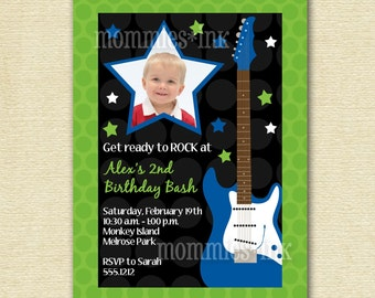 Birthday Party Invitation, Boy Birthday Invitation, Rock Star Invitation, Guitar Invitation, Rock and Roll Invitation, Rockin Birthday
