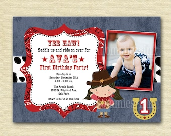 Little Cowgirl and/or Cowboy Western Theme Photo Birthday Invitation - PRINTABLE INVITATION DESIGN