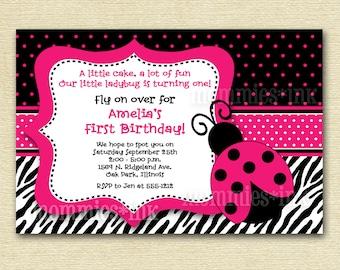 Pink Mod Ladybug - Custom Photo Birthday Invitation - PRINTABLE INVITATION DESIGN