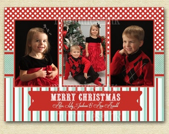 Vintage Peppermint Frost Polka Dots and Stripes Three Photo Christmas Card, Holiday Photo Card, Christmas Photo Card, 3 Photo Card