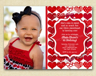 Red Sweetheart Birthday Party Invitation - PRINTABLE INVITATION DESIGN