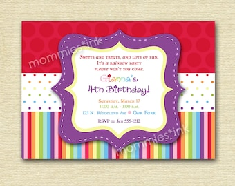 Rainbow Dots and Stripes Birthday Invite - PRINTABLE INVITATION DESIGN