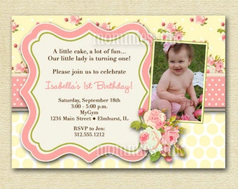 Shabby Style Pink Roses with Yellow Polka Dots Photo Birthday Party Invitation  Invite - PRINTABLE INVITATION DESIGN