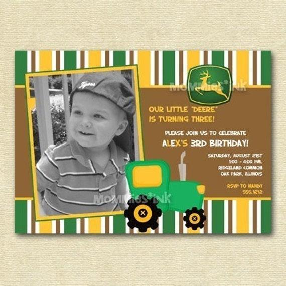 John Deere Tractor Custom Photo Birthday Invitation for any – Printable John Deere Birthday Invitations