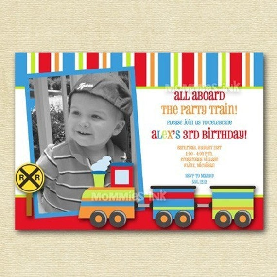 train invitation train birthday party choo choo train boy, Party invitations