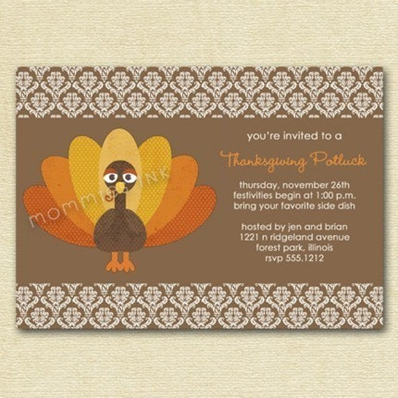 Thanksgiving Invitation Potluck Invitation Thanksgiving
