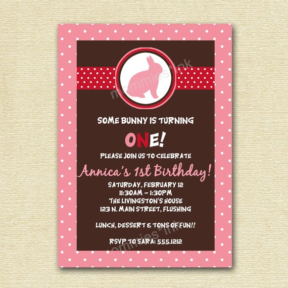 Bunny Rabbit Silhouette Birthday or Baby Shower Invite- PRINTABLE INVITATION DESIGN