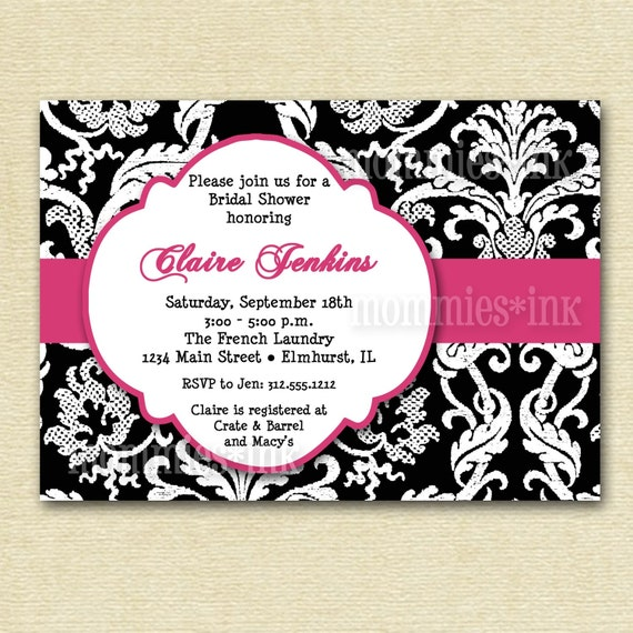 Items Similar To Mod Damask Baby Or Bridal Shower