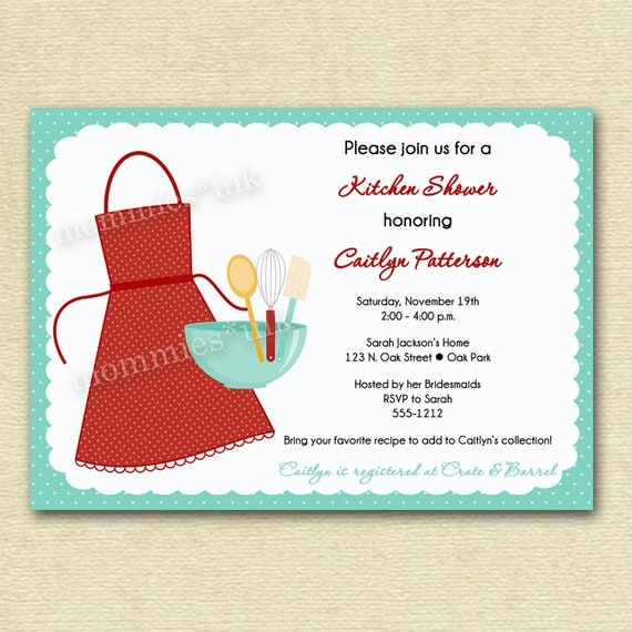 Kitchen Bridal Shower Invitation - PRINTABLE INVITATION DESIGN