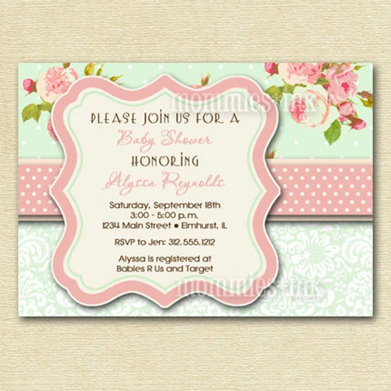 Shabby Style Pink Roses and Mint Green Polka Dots Baby Shower Invite - PRINTABLE INVITATION DESIGN