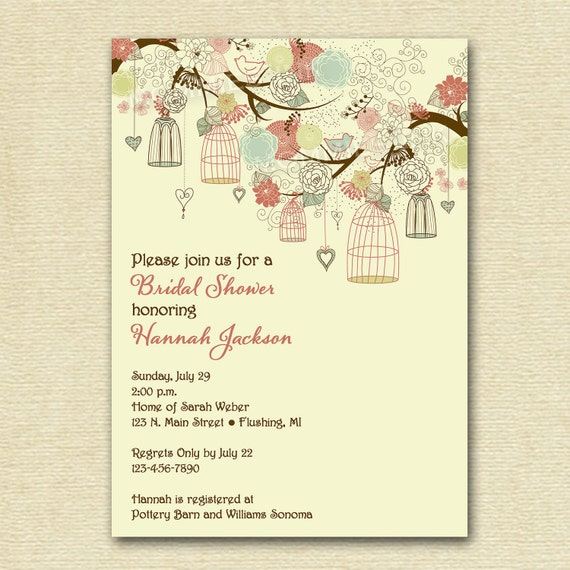 Vintage Birdcages and Flowers Bridal Shower Invitation - Shabby Style - Birdcage Invitation - Bird Cage Invite - PRINTABLE INVITATION DESIGN