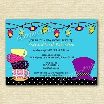 mad hatter tea party baby shower invitation printable