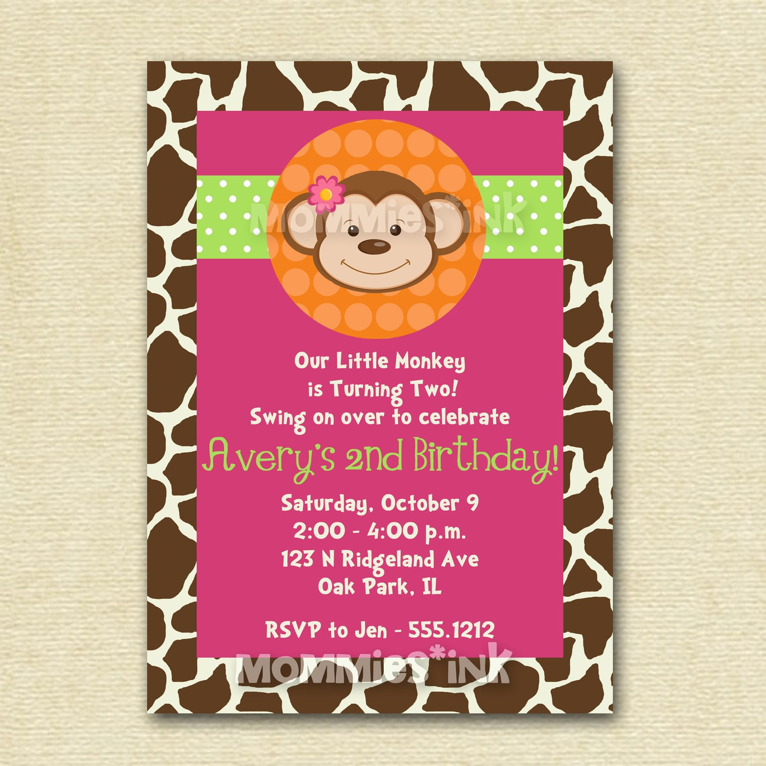 Monkey love party invitations - photo#6
