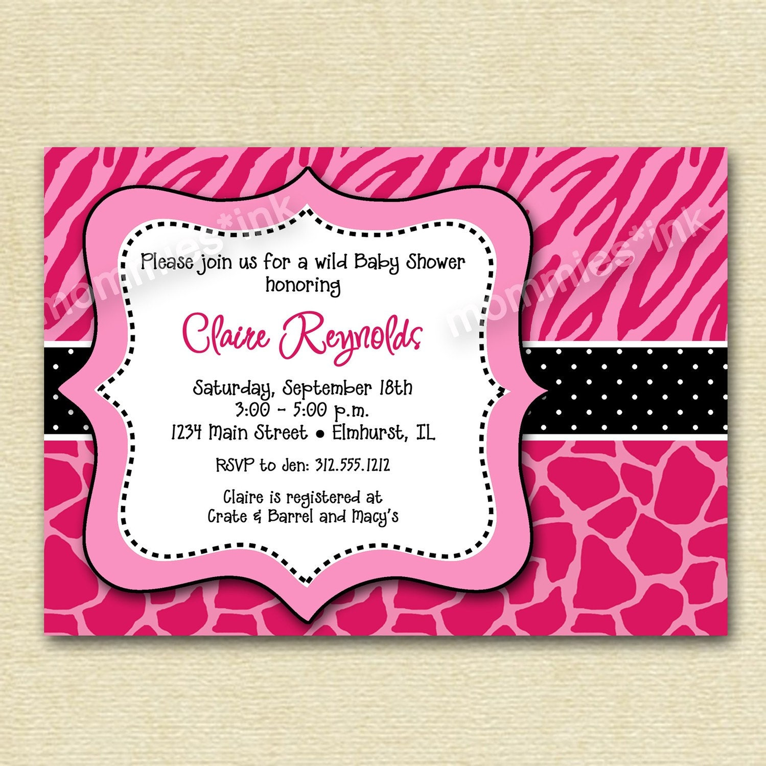 Pink And Leopard Baby Shower Invitations as perfect invitations example