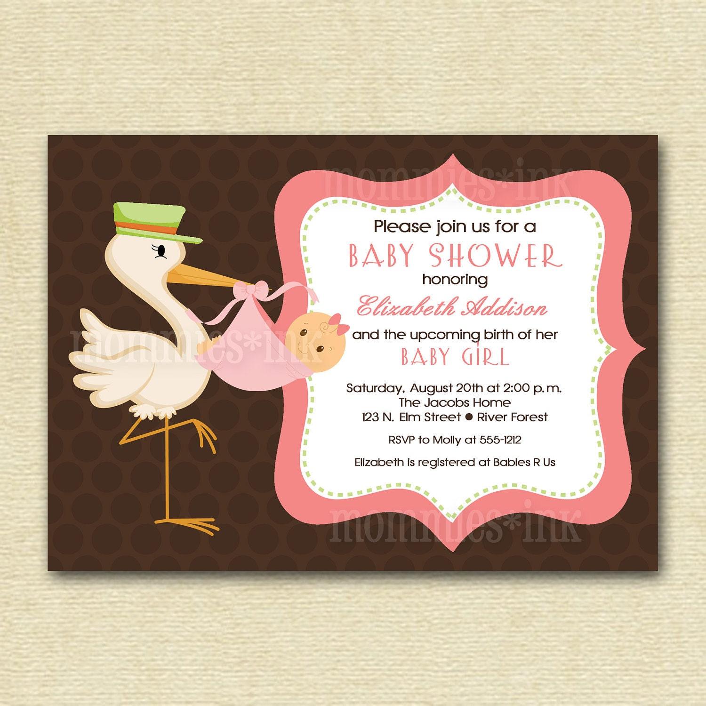 vintage retro stork baby shower invitation stork by mommiesink