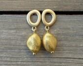 Gold Dangle Earrings, 18K solid gold earrings,  from Zen Nature, yellow Gold earrings