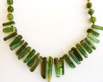 Tourmaline Necklace, Gold necklace, Green Tourmaline necklace, 18K Gold Chain necklace