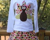 Girls Turkey Applique Shirt...Ready for Delivery...Available in Size 18m, 2, 4, 6 and 8