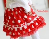 Red Polkadot Ruffle Skirt...Ready for Delivery...Available in Size 18m, 2, 4, 6 and 8 From Corina's Closet