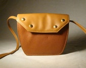 Vintage 80s Gold Studded CAMEL-Colored SADDLE Bag Purse