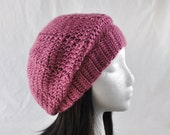 Crochet Beret Tam Hat Plum Wine