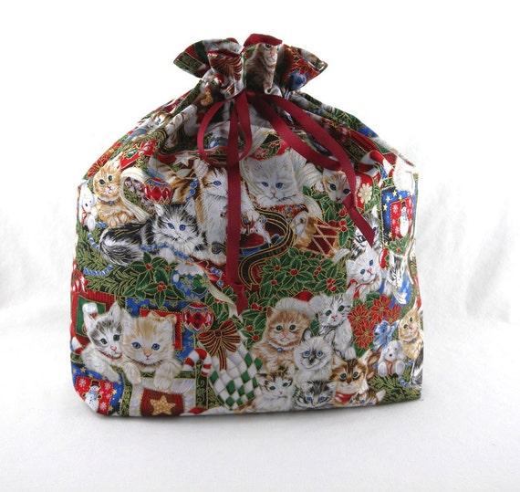 Reusable fabric gift bag christmas kittens large