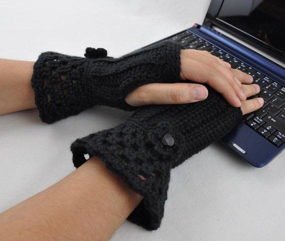 Fingerless Glove Wrist Warmer Gauntlet Black