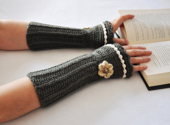 Arm Warmers Fingerless Glove Victorian Forest Heather Green