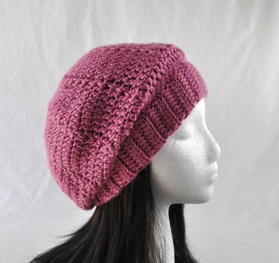 Crochet Beret Tam Hat Plum Wine