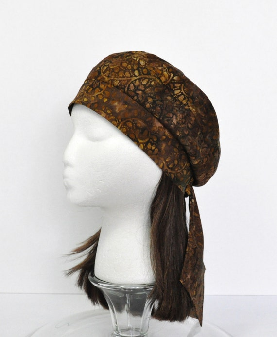 Headwrap Beret Tam - Cancer Hat Chemo Cap for Hair Loss and Alopecia- Brown/Gold Batik