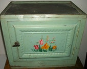 RESERVED UNTIL MAY 1 for Irene Cardenas Vintage Green Pie Safe Cabinet