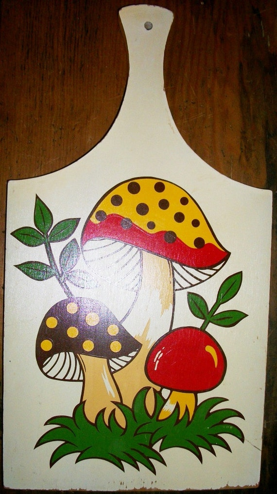 RESERVED for Chantelle Nolan Colorful Mushroom Cutting Board