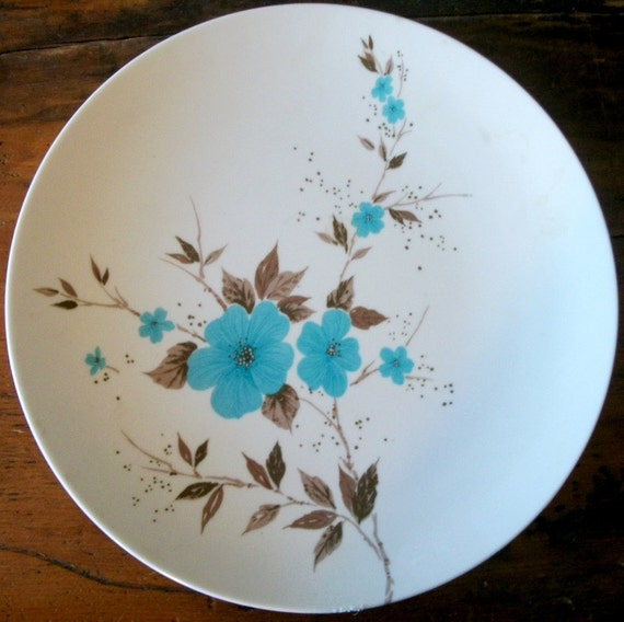 Set of 4 Apollo Ware Blue Flowered Dinner Plates