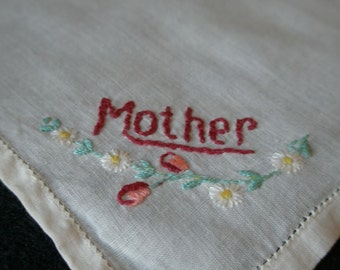 Darling Vintage Cream Cotton Handkerchief with Mother embroidery