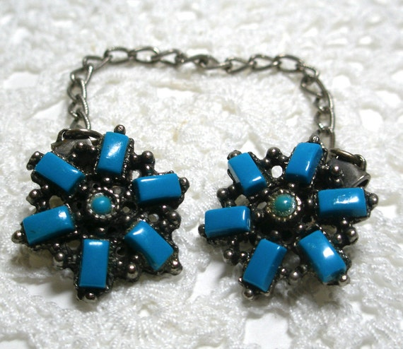 Vintage Silver Toned, Faux Turquoise Sweater Guard