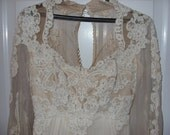 1970s French Chantilly Lace Wedding Dress