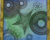 """Spirograph Colored Etching- Fresh Water 4""""x4"""", Blue Green Hand-Colored"""