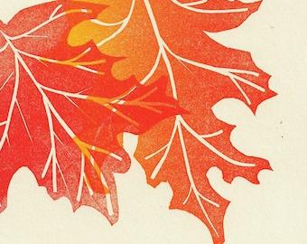 Autumn Linocut Print- Woodland Eco Natural- Maple Leaf- 8x10 inch 20 x 25 cm