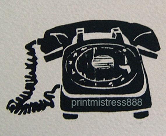 Telephone Blank Cards - Retro Geekery Cool- Original Linocut Art- 5 x 7 inch 13 x 18 cm