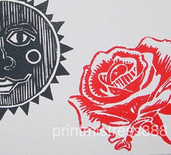 Handmade Blank Card- Dark Goth Romantic- Original Linocut- 5 x 7 inch  13 x 18 cm