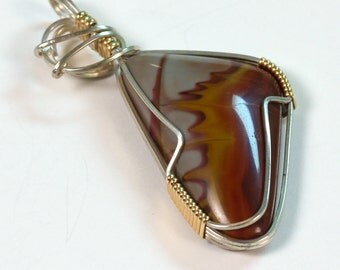Noreena Jasper Pendant in Gold and Silver