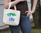 Canvas tote with Gator and Monogram