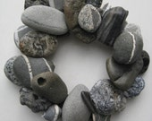 Gray and Black Rock Wreath or Candle Ring (RW171)