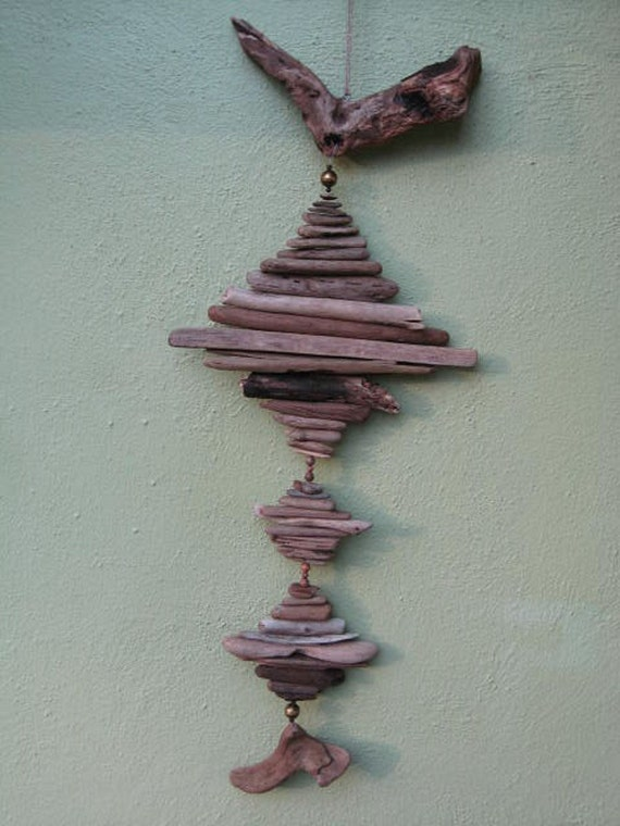 Driftwood Mobile With Stone and Brass Beads (DC251)