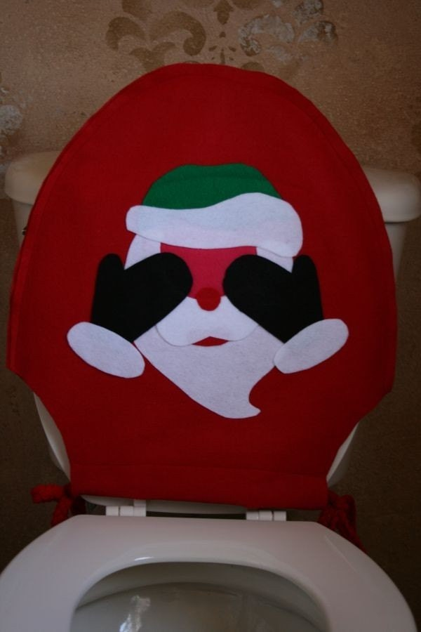 christmas toilet seat cover blushing santa
