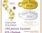 Jewelry Name tags. Customized in both gold and silver finish