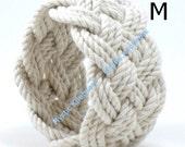 Turks Head Bracelet Woven wide white cotton medium